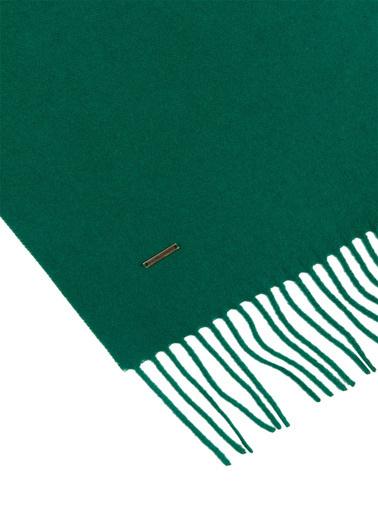 Silk and Cashmere Saf Kaşmir Patrick Tek Taraflı Atkı Yeşil
